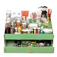 大容量抽屉式木质桌面收纳盒化妆品收纳盒 手工木质办公置物架 创意梳妆收纳箱