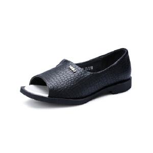 比比我2017春秋新款儿童鞋蛇皮纹鱼嘴单鞋休闲鞋