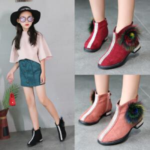 女童短靴2018冬季新款韩版公主儿童靴子时装靴马丁靴单靴棉靴加绒