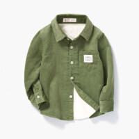 男童保暖长袖衬衫2018秋季新款儿童装灯芯绒加绒衬衣宝宝休闲上衣