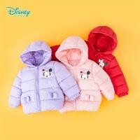 【2件3折到手价:99.6】迪士尼Disney童装 女童连帽夹棉外套冬季新品甜美米妮印花棉服保暖防风194S1168