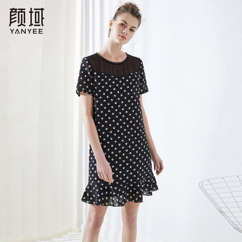 颜域波点印花荷叶边裙子网纱拼接雪纺连衣裙品牌女装2018夏季新品