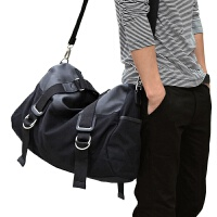 短途旅行包 男 手提男包单肩斜挎包时尚潮流大容量男士休闲包帆布 黑色 大号