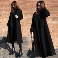 黑色毛呢外套女冬装宽松显瘦中长款过膝赫本呢子大衣