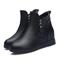 2018秋冬季平底女短靴厚底短筒女靴内增高马丁靴单靴坡跟女棉鞋