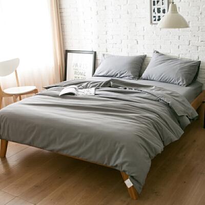 简约色床上用品棉磨毛1.5m床单被套三件套全棉1.8m床笠四件套 浅灰色 -单色 发货周期:一般在付款后2-90天左右发货,具体发货时间请以与客服协商的时间为准
