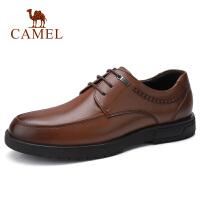 camel骆驼男鞋 秋季新款商务休闲皮鞋牛皮系带办公鞋商务德比鞋