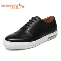 红蜻蜓男鞋冬季英伦真皮商务休闲鞋圆头系带皮鞋