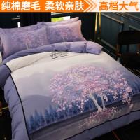 中国风全棉磨毛四件套秋冬季加厚民族新中式纯棉床上用品床单被套