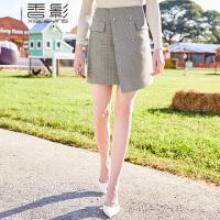 格子a字裙 香影2018春装新款时尚高腰短裙修身显瘦不规则半身裙潮
