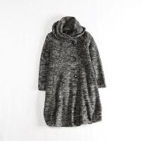 女秋冬毛呢外套中长款排扣宽松休闲文艺呢子大衣 1D
