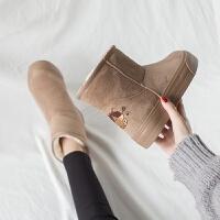 �D品喵喵雪地靴女短筒2018新款保暖加绒棉鞋厚底潮短靴秋冬季女鞋