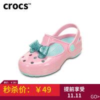 Crocs卡骆驰童鞋夏季女童闪亮蝴蝶结小卡莉厚底凉鞋|203452