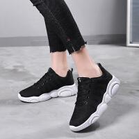 小熊鞋女新款初中学生黑面白底休闲运动鞋韩版潮流百搭跑步鞋