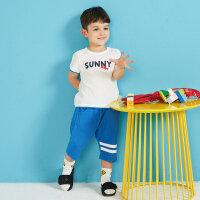 【1件2.5折到手价:42.3】moomoo童装男宝宝套装新款夏季男童运动多彩卡通小鱼短袖套装