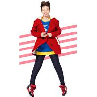 PASS女装冬装红色长款毛呢外套时尚大码长袖女士高端毛呢大衣女潮