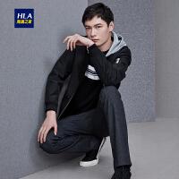 HLA/海澜之家时尚花纹夹克2018秋季新品可脱卸帽夹克外套男