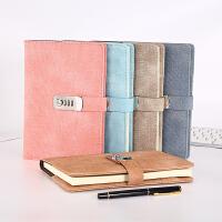 复古密码本创意学生日记本带锁加厚手账本商务笔记本文具办公会议记录本