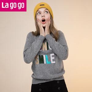 Lagogo/拉谷谷2017年冬季新款时尚绣花长袖针织衫GCMM41XA23