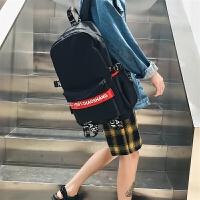 双肩包男时尚潮流英伦高中学生书包帆布休闲男士日韩电脑背包个性