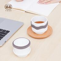 橙舍 行者随手杯(古瓷版)便携包旅行茶具耐热玻璃茶水分离过滤泡茶杯快客杯