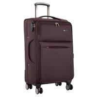 旅行箱子万向轮行李箱男28寸牛津布拉杆箱女24寸登机密码箱皮箱包 咖啡色普通 静音双排飞行轮