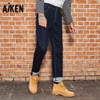 森马旗下Aiken原色牛仔裤秋冬装加厚男士中低腰直筒小脚长裤潮青年学生