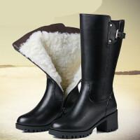 皮鞋女中筒冬季棉鞋女靴粗跟中筒靴高筒厚底中跟大码妈妈棉靴棉皮鞋lkf 黑色