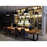 实木办公桌椅组合会议长桌复古loft简约现代铁艺餐桌电脑桌定制