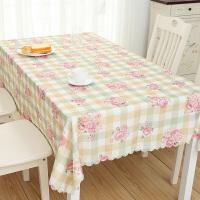 桌布布艺棉麻风格小清新欧式ins桌垫布艺防水格子茶几餐桌布北欧 乳白色 6#郁李-橙格
