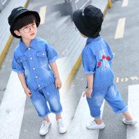 童装2018新款韩版男童夏季短袖套装儿童牛仔绣花毛边短裤两件套潮 浅蓝色