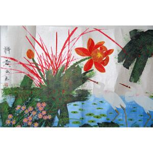 F黄永玉 荷  68*136 纸本镜片