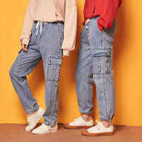 【1件3折到手价:134.7】美特斯邦威阔腿牛仔裤女新款工装哈伦裤男束脚老爹裤女情侣装