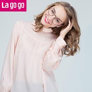 Lagogo2017秋季新款复古小立领粉色衬衫长袖小清新雪纺套头上衣女