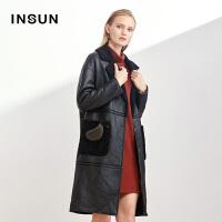 INSUN/恩裳气质翻领绵羊皮毛一体多色中长款大衣外套女