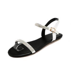 ELEISE美国艾蕾莎新品162-A4韩版超纤皮平跟舒适水钻女士凉鞋