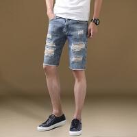 牛仔短裤男潮五分裤青少年夏季男装薄款新款宽松休闲破洞牛仔裤男 5蓝色