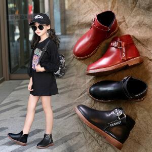 女童小短靴2018秋冬新款韩版女孩靴子加绒网红二棉靴潮儿童鞋皮靴