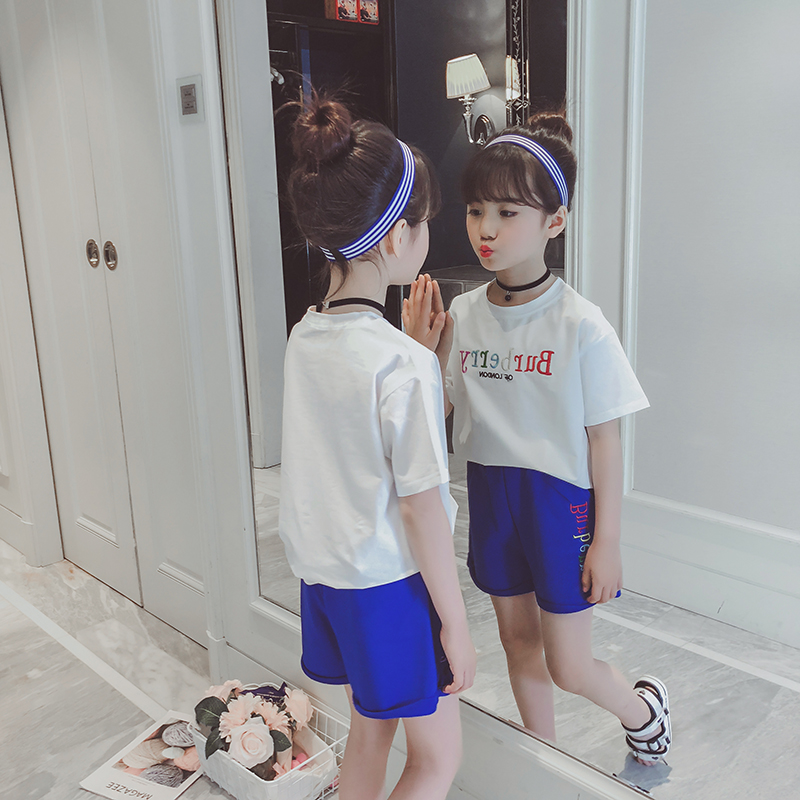 女童运动套装夏装新款儿童短袖两件套夏季中大童韩版时尚童装