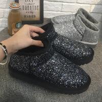 雪地靴女亮片保暖街拍百搭2018新款棉鞋冬加绒平底一脚蹬短筒靴女SN6172