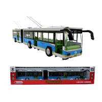 合金双节公交车加长电车模型灯光客车真人语音效回力巴士玩具 浅蓝色 铠威双节 电车