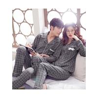 韩版秋冬款情侣睡衣男女长袖格子休闲男士大码家居服套装