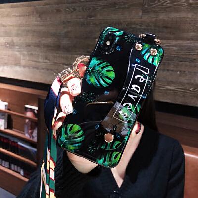 ins龟背叶腕带iphone xs max手机壳挂绳7plus硅胶6splus潮苹果8plus时尚x 6/6s 黑底龟背叶腕带+挂绳