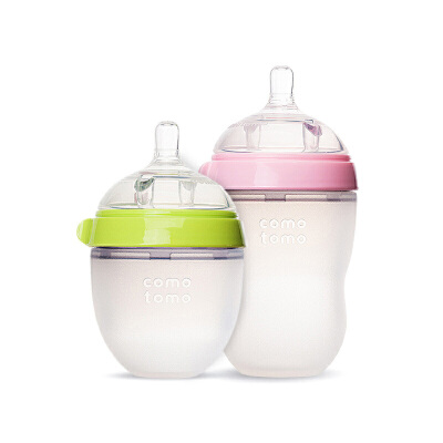 可么多么婴幼儿宽口径硅胶奶瓶防摔防胀气250ml+150ml防胀气系统 奶嘴温润柔软 颜色随机发货