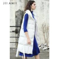 JII AMII2018秋冬季新款马甲背心外套女文艺宽松90绒中长款羽绒服