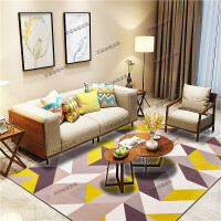 ???北欧客厅地毯沙发茶几垫子简约现代卧室床边地垫满铺可爱房间家用 05号 黄色几何