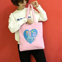 韩国小清新卡通原宿可爱独角兽女休闲单肩包大容量手提包购物袋萌