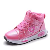 女童运动鞋2018冬季新款加舒适绒内里爱心公主女童棉鞋 29-38
