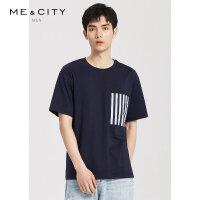 【1件4折到手价:78】MECITY男装夏季新款时尚撞色短袖男士白色T恤打底衫