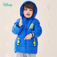 迪士尼Disney童装 男童外出保暖棉服冬季新品萌趣三眼仔印花外套儿童可拆卸连帽上衣194S1203